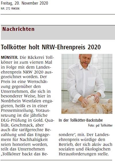 Anzeige in der WN Landesehrenpreis für Lebensmittel 2020 - Ehrenpreis des Landes NRW