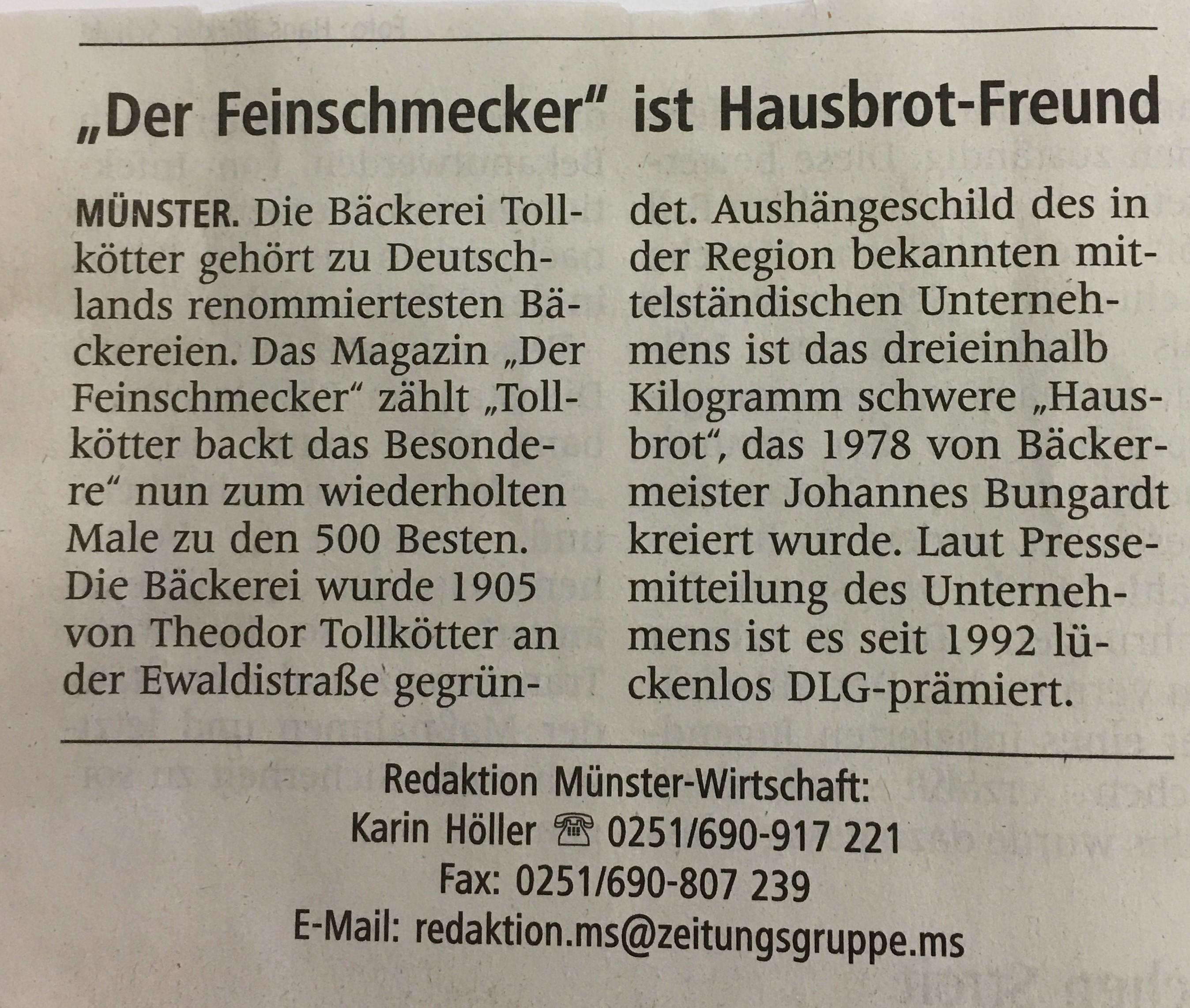 Anzeige in der WN am 03.11.2020 Der Feinschmecker 500 Besten Bäcker in Deutschland