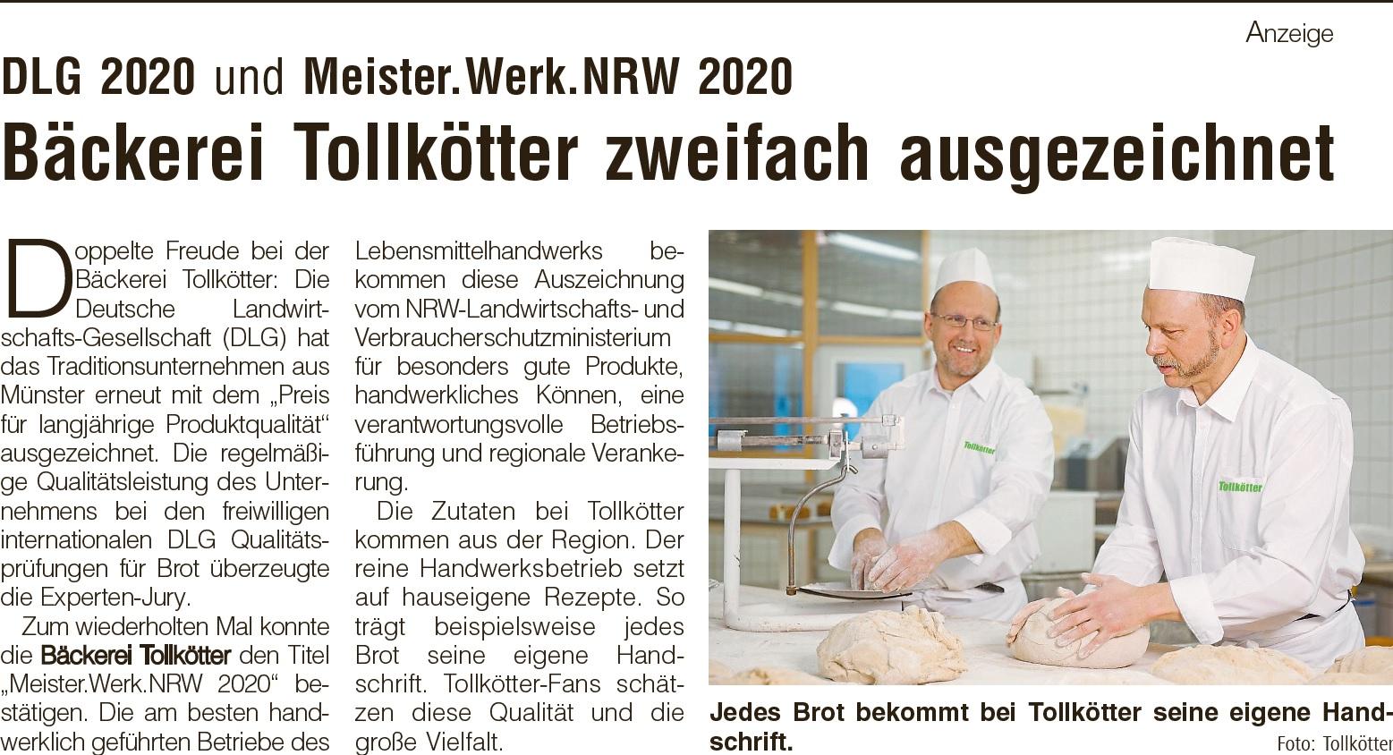 Anzeige in der WN am 21.05.2020 DLG + Meister Werk NRW