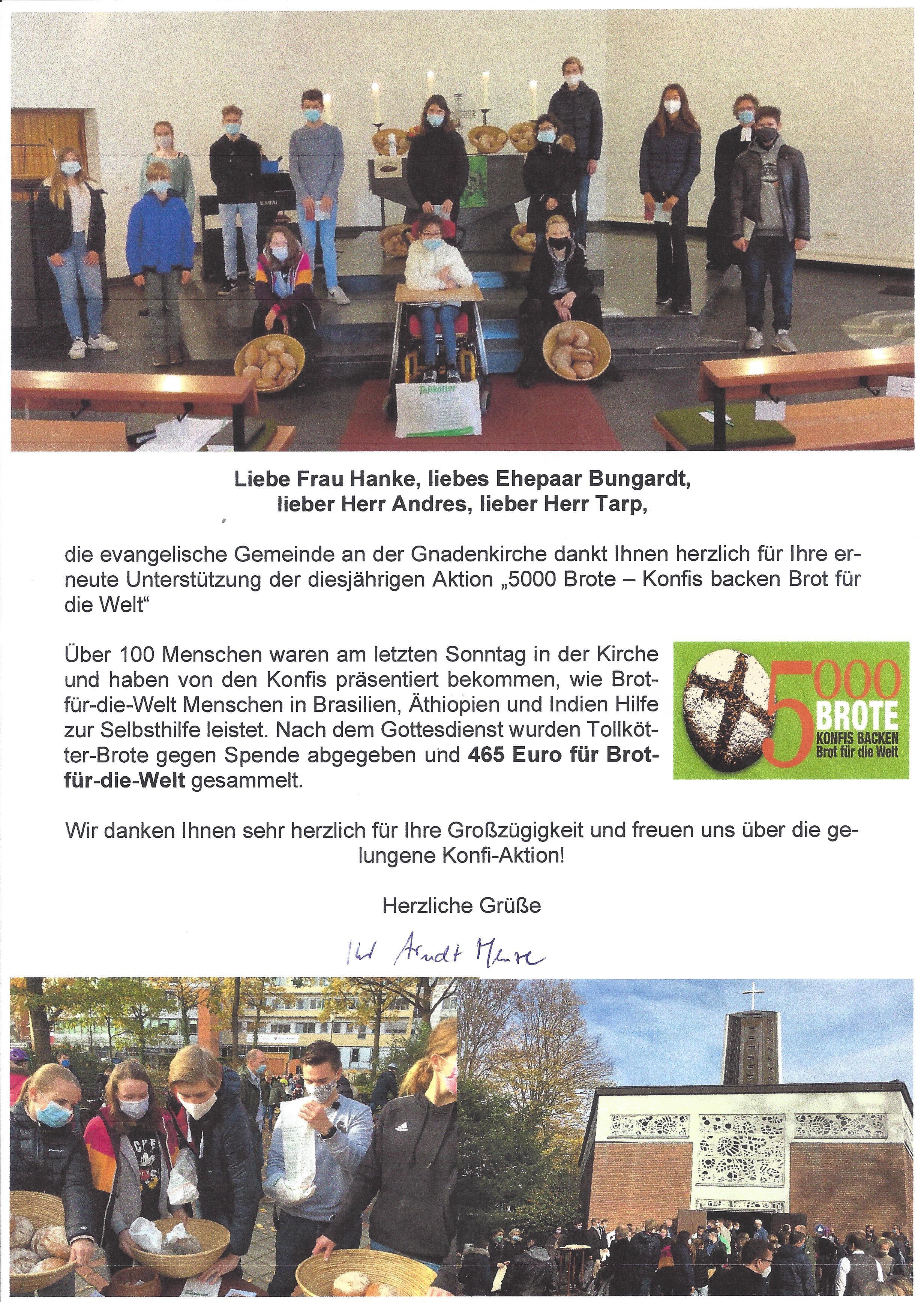 Bericht von Pfarrer Arndt Menze der Aktion Konfirmanden backen Brot für die Welt 02.11.2020