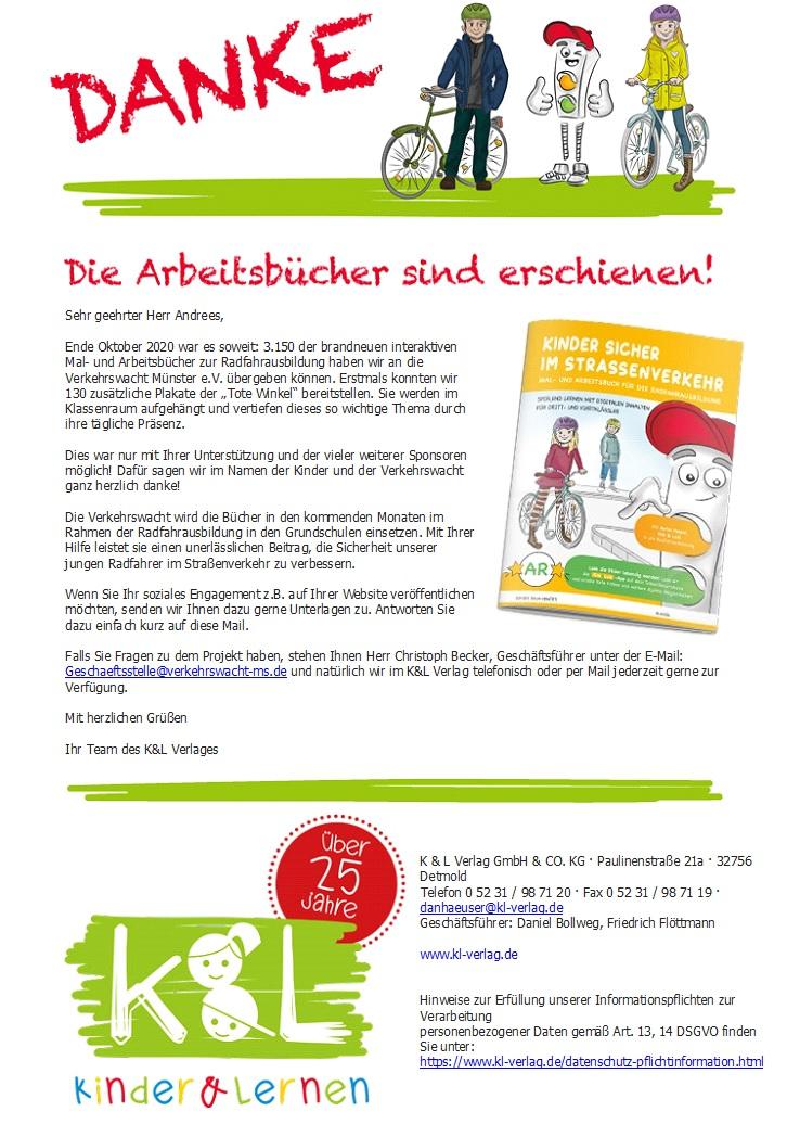 Danke - Radfahrausbildungsbuch mit digitalen Inhalten für die Verkehrswacht Münster e.V. erschienen