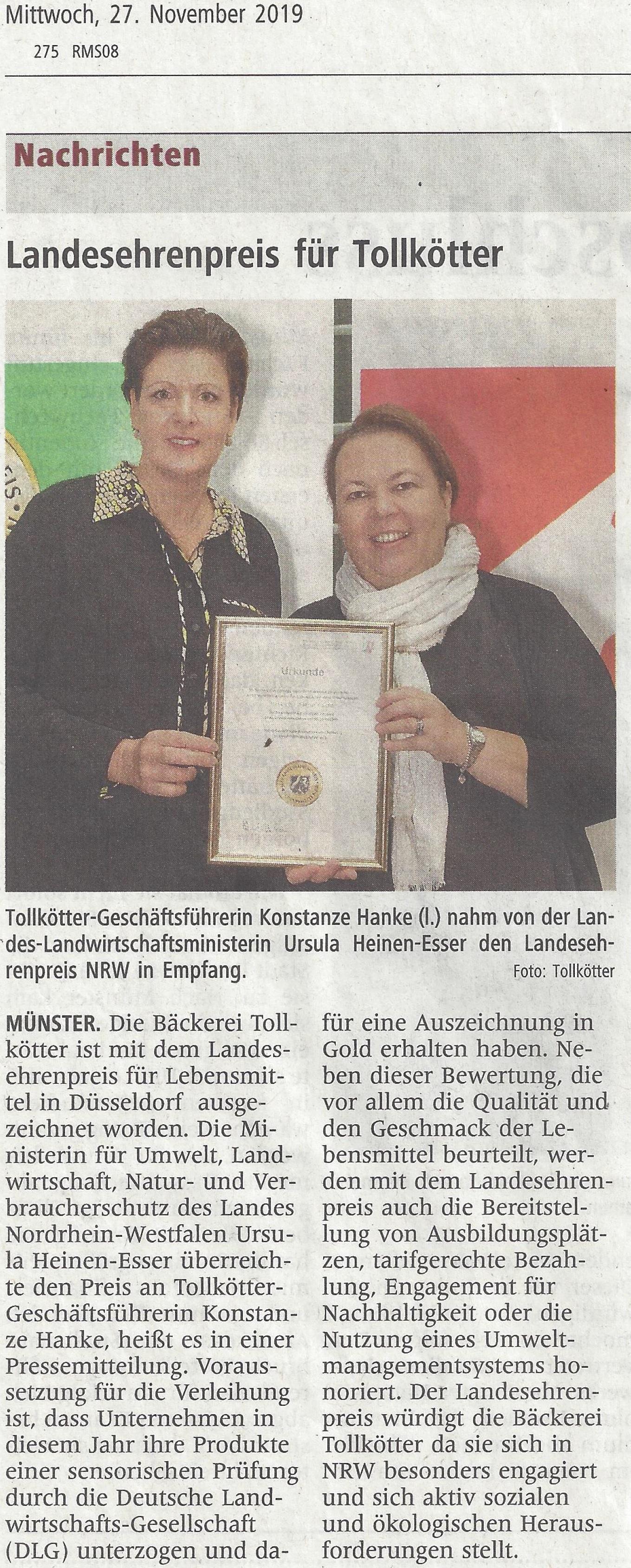 Landesehrenpreis NRW 2019 WN am 27.11.2019