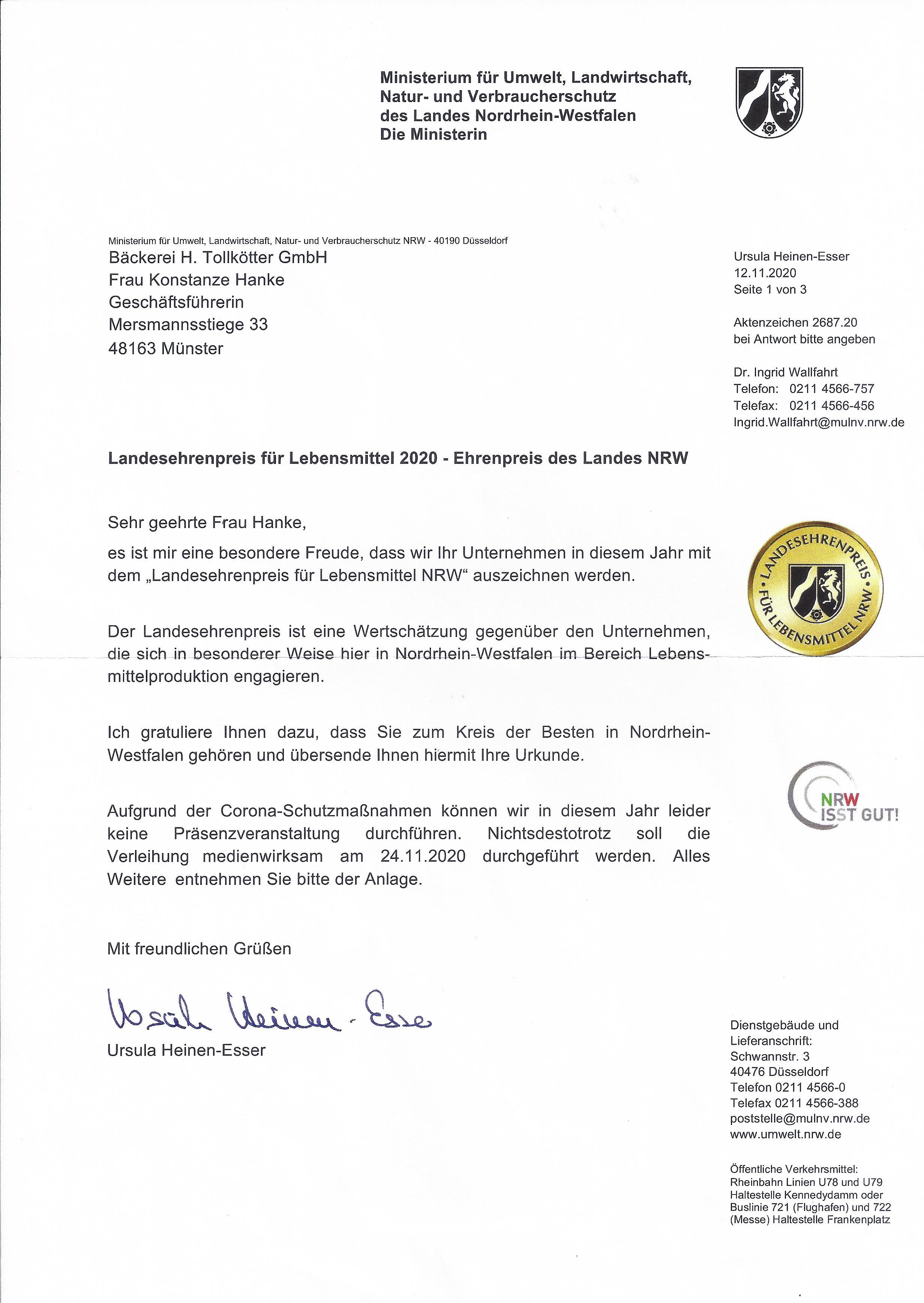 Landesehrenpreis für Lebensmittel 2020 - Ehrenpreis des Landes NRW